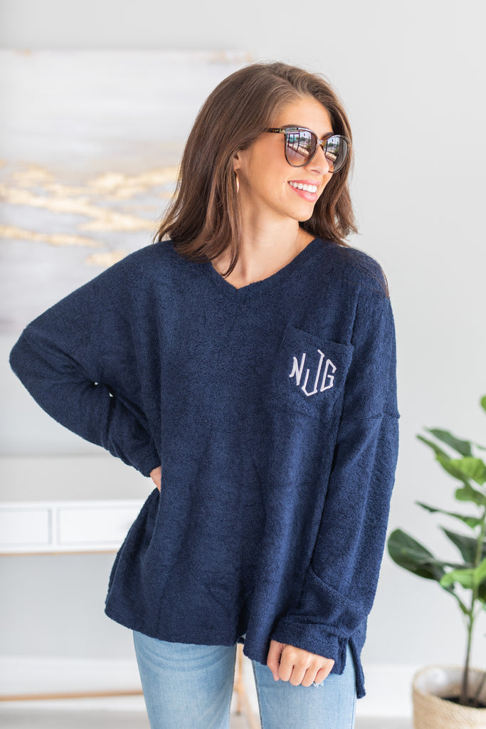 sweater, monogrammed sweater, monogrammed long sleeve sweater, cozy sweater, roomy, roomy sweater, terry cloth, terry cloth fabric, terry cloth fabric sweater, soft, soft sweater, texture sweater, pocket, pocket sweater, break pocket, breast pocket sweater, long sleeve, long sleeve sweater, v neck, v neck sweater, fall, fall sweater, blue sweater, blue long sleeve sweater, blue monogrammed sweater,