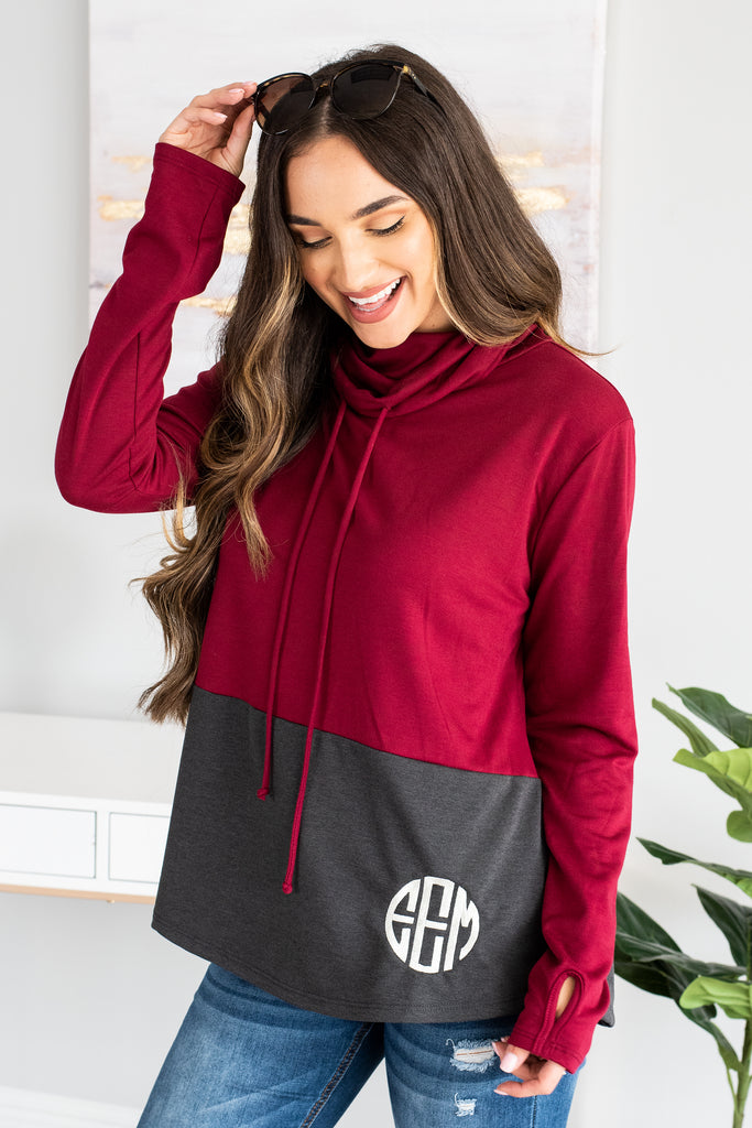 tunic, comfy tunic, color blocking tunic, long sleeve tunic, casual fit tunic, monogrammed tunic, cute tunic, draw string neckline tunic, long sleeve tunic, tunic with thumb holes, red tunic, red long sleeve tunic, red long sleeve monogrammed tunic, red embroidered tunic