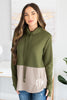 tunic, comfy tunic, color blocking tunic, long sleeve tunic, casual fit tunic, monogrammed tunic, cute tunic, draw string neckline tunic, long sleeve tunic, tunic with thumb holes, green tunic, green long sleeve tunic, green long sleeve monogrammed tunic, green embroidered tunic