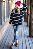 fall, sweater, striped, striped sweater, trendy, oversized fit, round neckline, long sleeves, stripes, knit fabric, generous stretch, black, black sweater