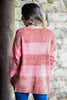 fall, comfy, cozy, soft, stripes, round neckline, chunky, long sleeves, long sleeve sweater, generous stretch, brown, brown sweater
