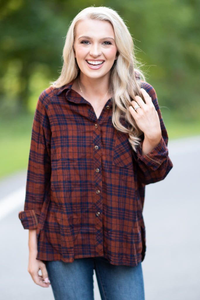 fall, plaid, fabulous, button down, classic, winter, plaid print, button down front closure, long sleeves, breast pocket, true to size, brown, brown plaid, brown plaid top