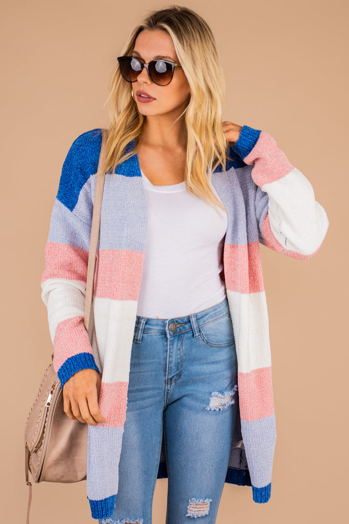 Stand Out Blue And Mauve Colorblock Cardigan