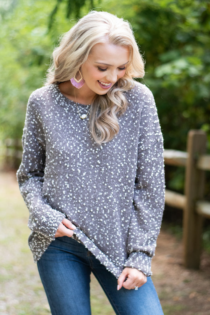 sweater, fall, fall sweater, gray, gray sweater, cozy, cozy sweater, white speckles, with speckle sweater, knit fabric, long sleeves, long sleeve sweater, round neck, round neck sweater