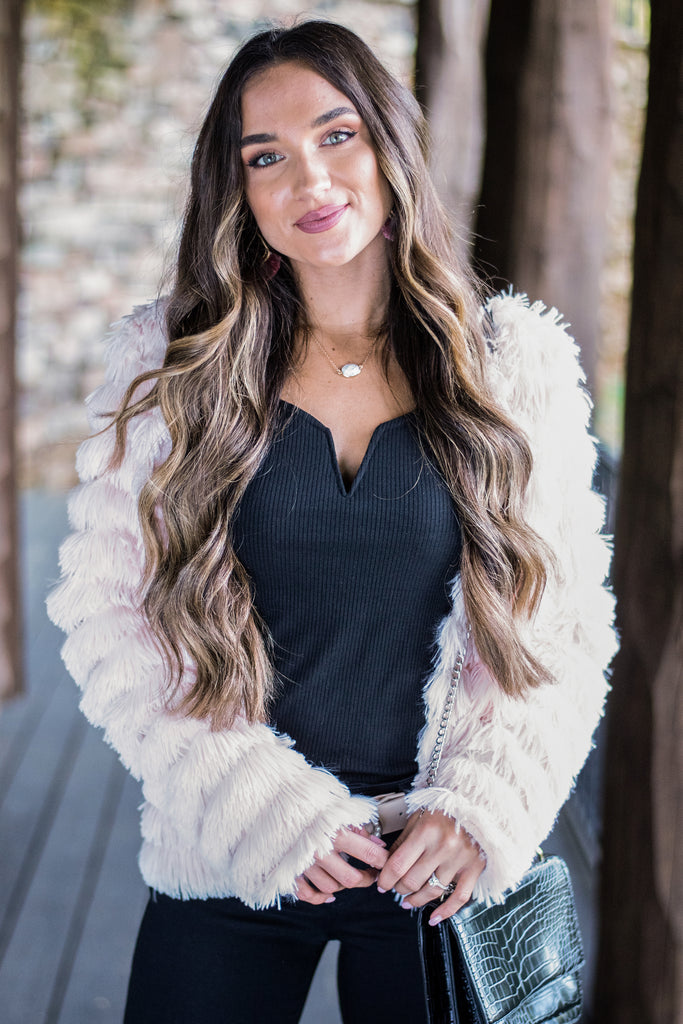 Here For The Drama White Faux Fur Jacket by The Mint Julep Boutique