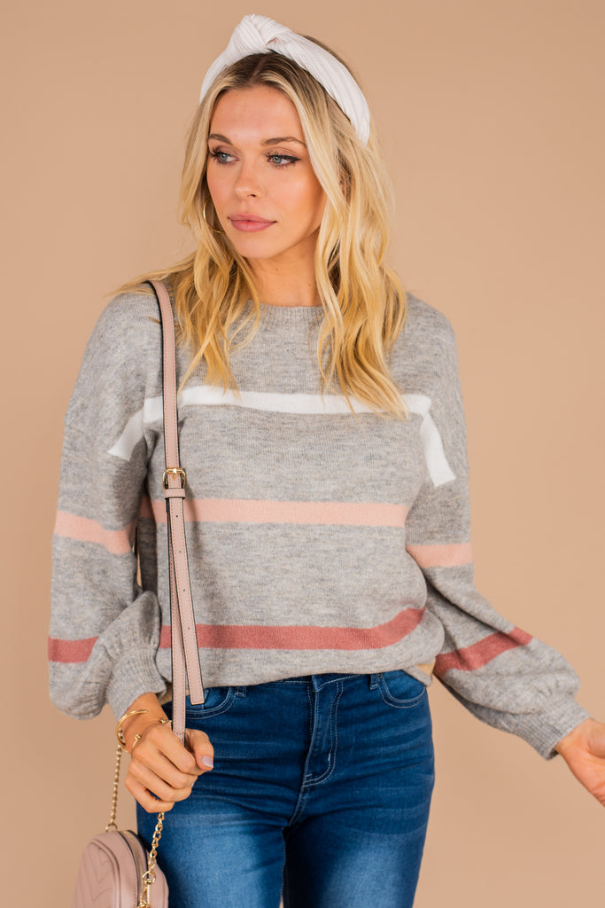 sweater, striped sweater, casual fit, round neckline, long sleeves, knit fabric, pink, gray, white