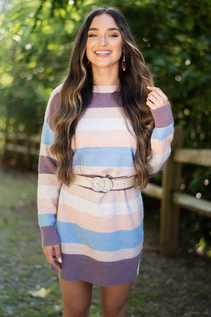 sweater, dress, sweater dress, simple, comfy, stripes, striped dress, striped sweater, long sleeve, long sleeve dress, long sleeve sweater, winter, winter dress, winter sweater, round neck dress, round neck sweater, purple, purple dress, purple sweater