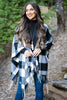 fall, cardigan, poncho, open front poncho, plaid, plaid poncho, trendy, fringe shawl, bold plaid print, fringe trimming, flowing fit, black shawl, black, black plaid