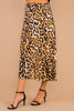 midi skirt, bold print, sassy, leopard print, natural colors, midi length, full lining, side zip closure, leopard print