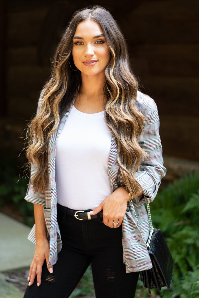 blazer, fall blazer, plaid blazer, fall plaid blazer, long tabbed sleeve blazer, fall blazer with pockets, blazer with pockets, button front blazer, button front plaid blazer, gray plaid blazer, gray plaid long sleeve blazer