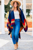 Traveling Out West Navy Multicolored Poncho