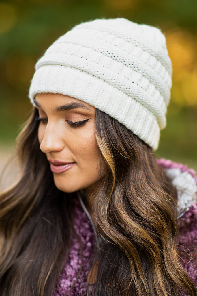 Mountainside Adventures White Knit Beanie