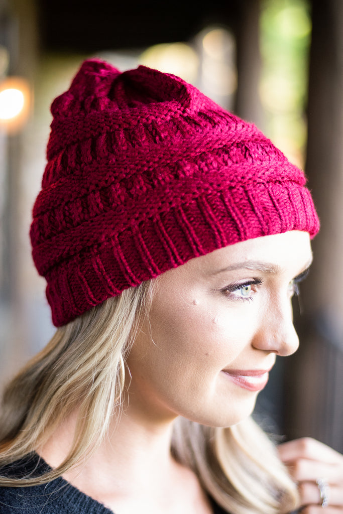 fall, winter, beanie, cable knit, fuzzy, fuzzy beanie, soft, red, red beanie