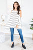 top, long sleeve top, cold shoulder top, long sleeve cold shoulder top, striped long sleeve top, striped long sleeve cold shoulder top, white striped cold shoulder top, white and black striped cold shoulder top, white and black striped cold shoulder long sleeve top, fall top, winter top, generous fitting top, lightweight top,
