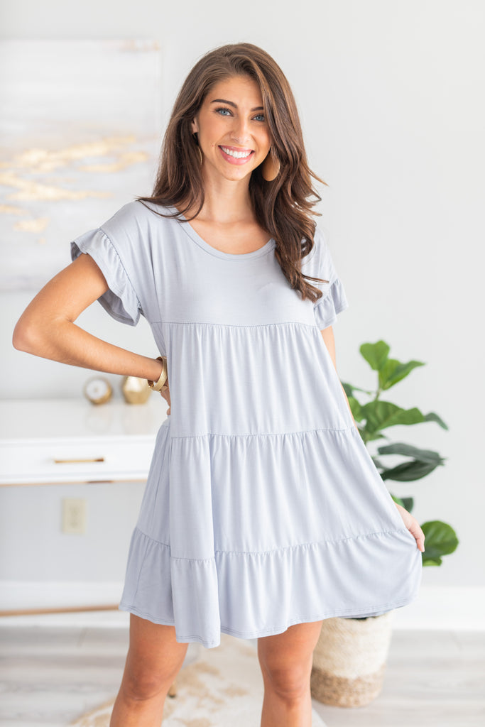 dress, sweet dress, tiered dress, flowy dress, ruffled sleeve dress, round neckline dress, short ruffled sleeve dress, tiered detailed dress, solid color dress, gray dress, fall dress, casual dress