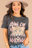 graphic tee, tee, short sleeves, round neckline, fun graphic, short sleeves, casual, edgy, gray