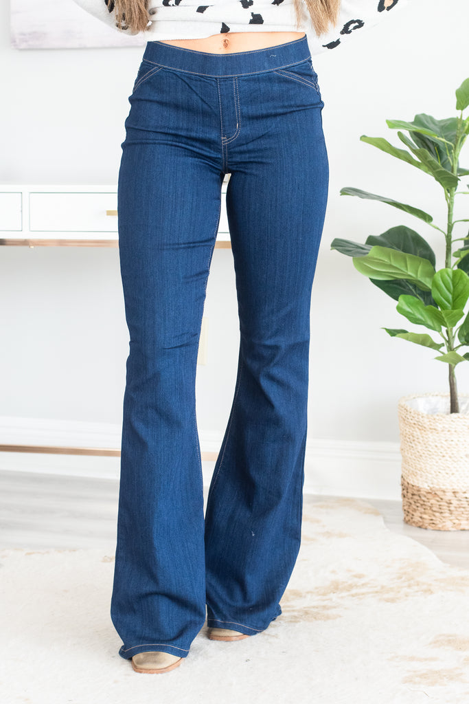 bottoms, jeggings, trendy, comfy, elastic waist, flare jeggings, flared legs, generous stretch, blue, blue jeggings