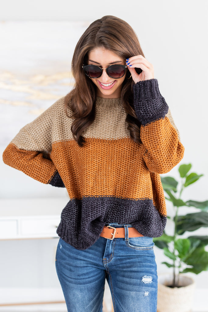 fall, sweater, fall sweater, color bloc, cozy, warm, round neckline, long sleeves, knit fabric, generous stretch, brown, brown sweater