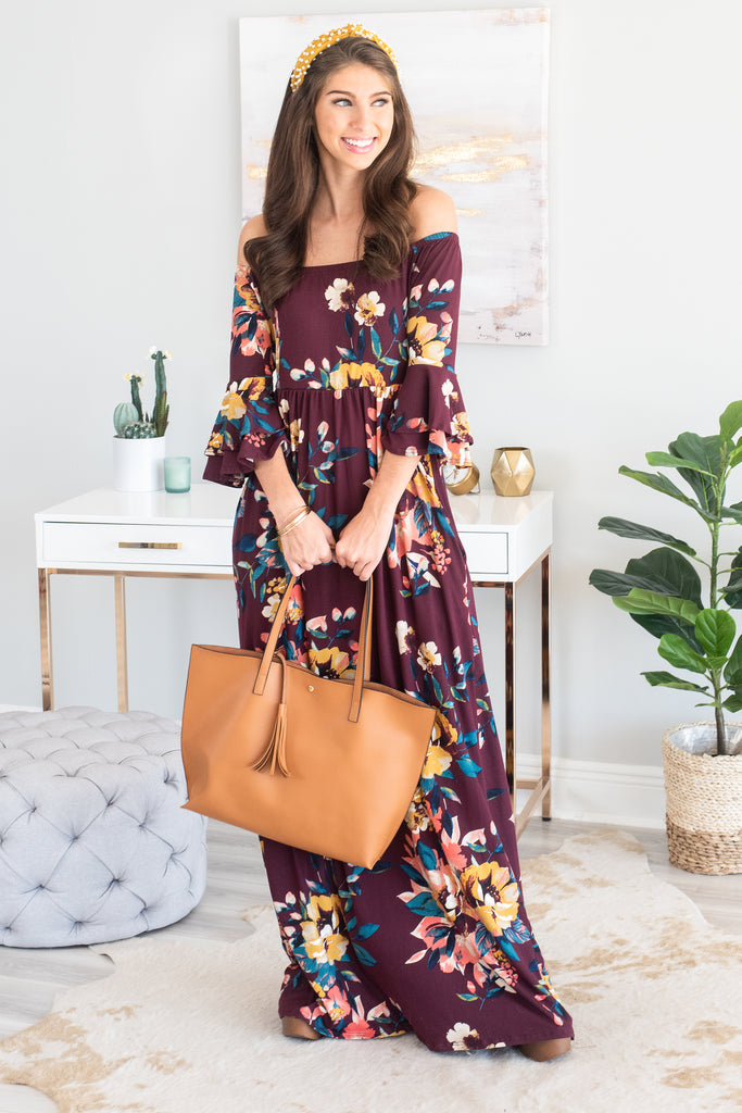 fall, dress, maxi, maxi dress, floral, floral dress, floral maxi dress, shoulder neckline, 3/4 length, flounced sleeves, soft jersey knit fabric, red, red floral dress, red floral maxi dress