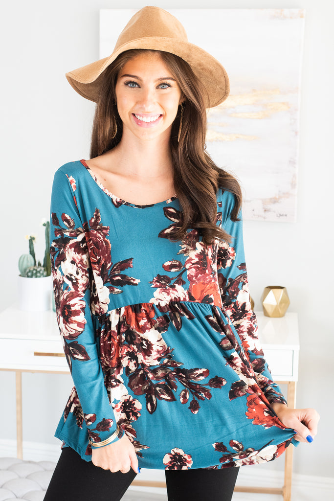 fall, top, tops, fall tops, floral, floral top, soft, comfy, round neckline, long sleeves, long sleeve top, babydoll fit, jersey knit fabric, generous stretch,