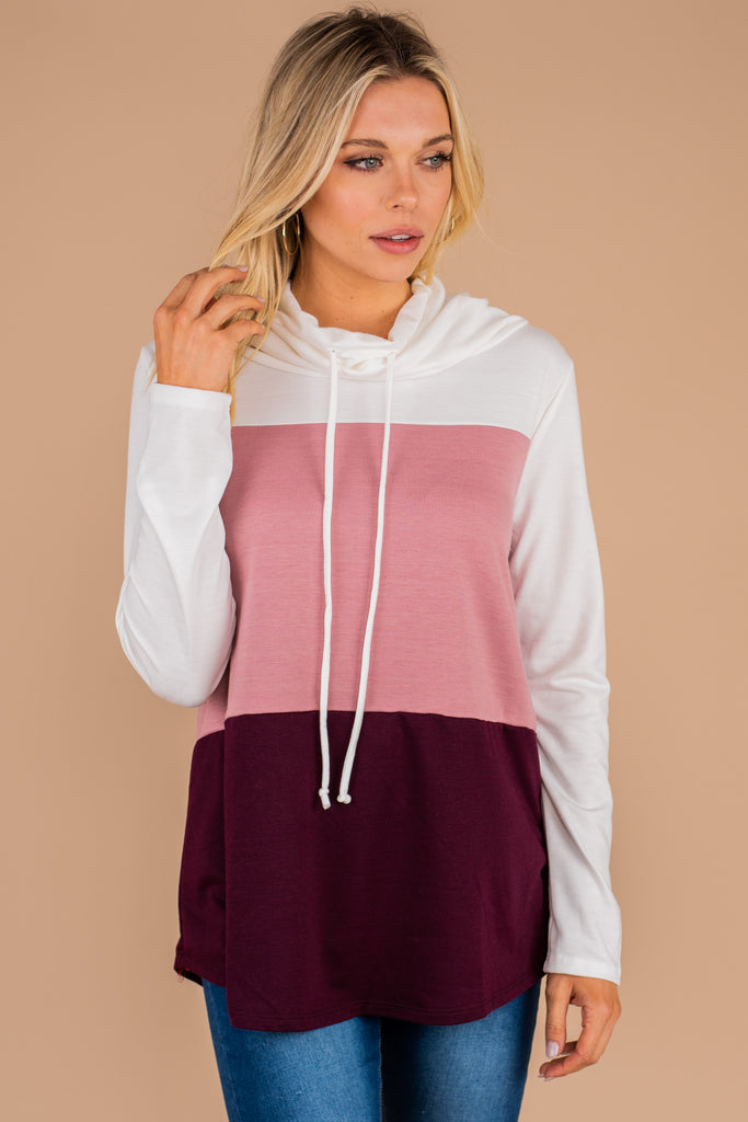 jersey knit, colorblock print, jersey knit top, fall, winter, sweater top, cowl neck, long sleeves, pink, white, burgundy