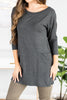 tunic, fall tunic, casual tunic, winter tunic, tunic with front pockets, button down tunic, round neckline tunic, long sleeve tunic, long sleeve fall tunic, long sleeve winter tunic, button detailing tunic, charcoal tunic, charcoal long sleeve tunic, charcoal winter tunic, charcoal fall tunic