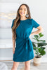fall, dress, knotted dress, fall dress, fabulous, short sleeves, round neckline, elastic waist, tied waist, no stretch, blue, blue dress