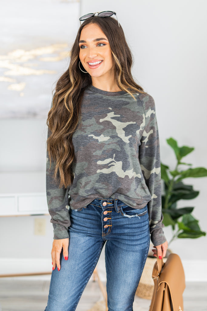 fall top, camo, camp top, fall top, sassy, faded camo, comfy, long sleeves, round neckline, camo print, casual fit, generous stretch, green, green camo top