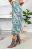 fall, skirt, midi skirt, fall skirt, trendy, sassy, midi length, snake print, zip side closure, green, green snake print, green skirt