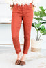 fall, jeggings, fall jeggings, bottoms, cute, comfy, rich color, button/zip fly, pockets, jeggings with pockets, solid coloring, orange, orange jeggings