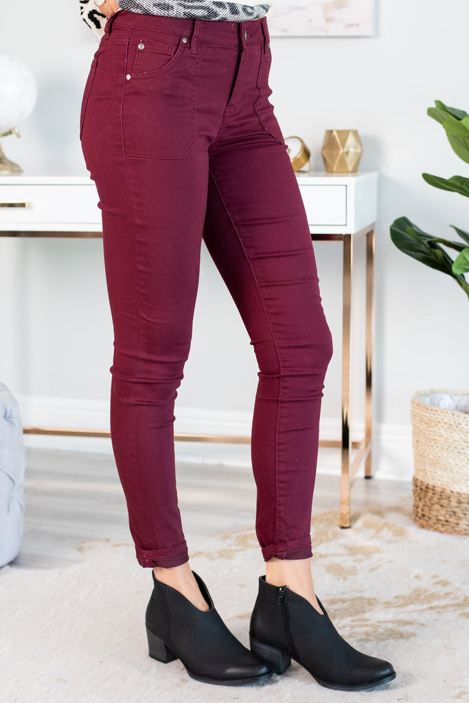 fall, bottoms, jeggings, cute, comfy, rich color, fabulous, winter, button zip fly, pockets, jeggings with pockets, red, red jeggings