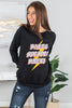sweatshirt, pullover, long sleeves, wide round neckline, graphic, black, layer, casual, comfy