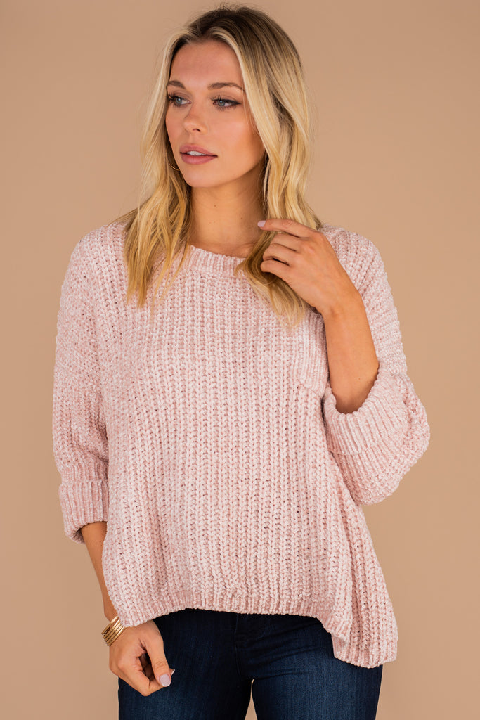 chenille sweater, soft, cozy, cuffed sleeves, pocket detail, round neckline, 3/4 sleeves, breast pocket, chenille knit fabric