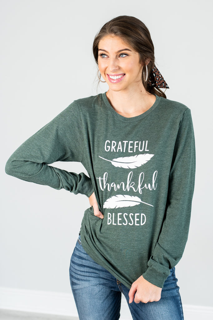 fall, tee, graphic tee, fall tee, round neckline, long sleeves, generous stretch, green, green tee, green graphic tee