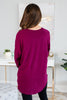 fall, tunic, graphic tunic, fall tunic, round neckline, long sleeves, curved hem, generous stretch, red, red tunic, red graphic tunic