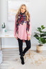 easy like sunday tunic, cozy, fleece lining, soft, pink, curved hem, dolman sleeve, long sleeve, round neckline