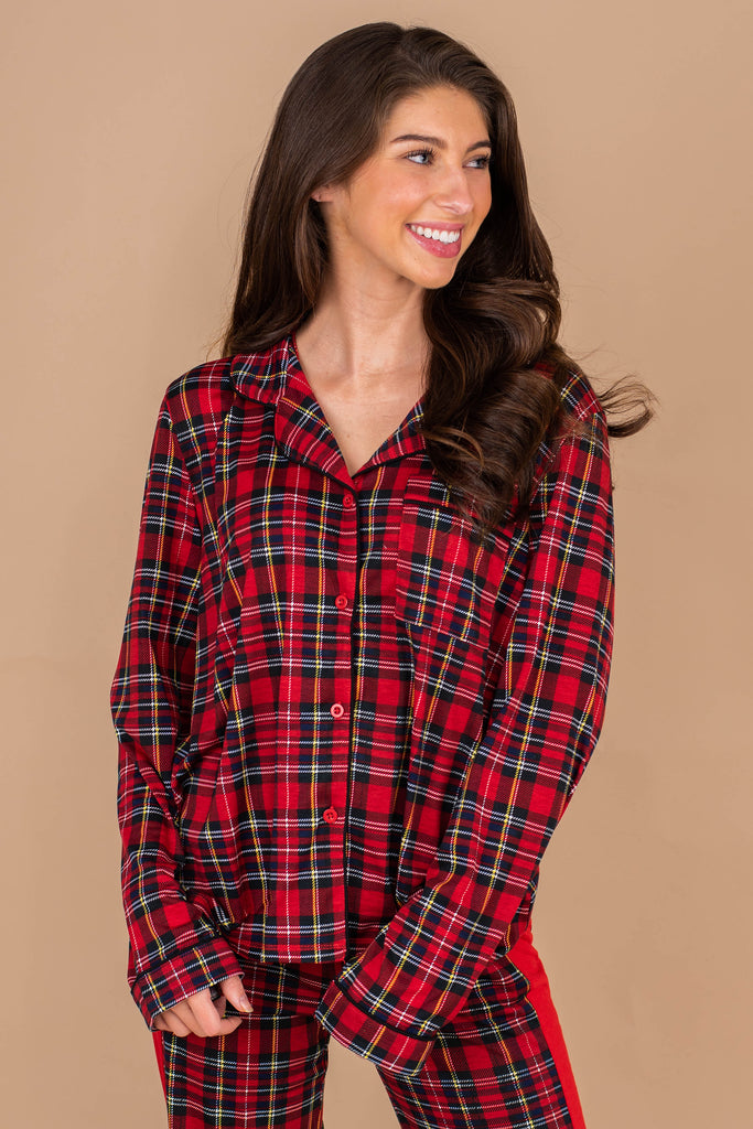 top, collared neckline, button down front closure, long sleeves, breast pocket, festive plaid print, top