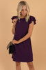 ruffled sleeves, feminine dress, dress, short dress, wine, round neckline, shift fit, shift dress, plum, purple, fall, winter