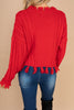 sweater, red sweater, top, cable knit fabric, warm, cozy, distressed fringe hem, distressed fringe sleeves, long sleeves, round neckline, distressed fringe, red, holiday, fall, winter
