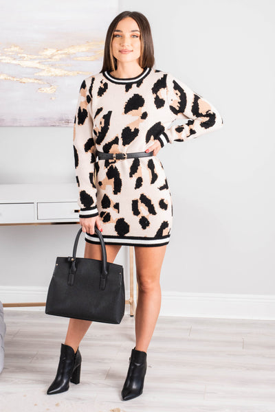 Feel The Fun Brown Leopard Sweater Dress