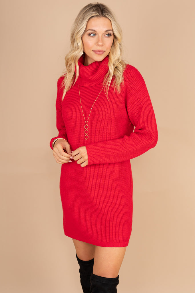 cowl neck sweater, sweater dress, cozy, warm, fall, winter, red dress, red, holiday dress, long sleeves, knit fabric