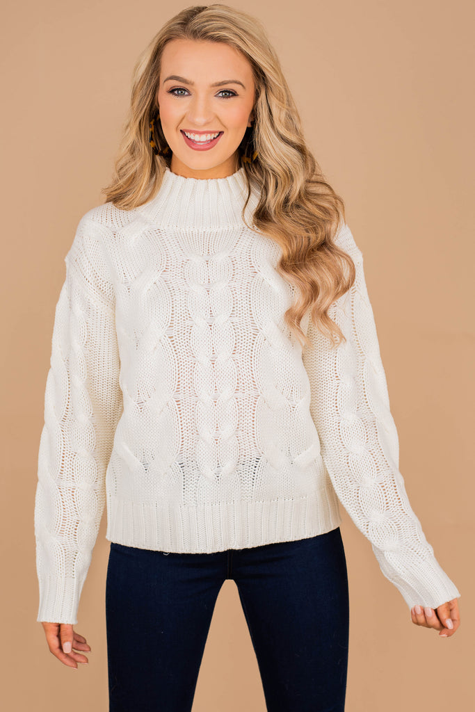 mock neckline, sweater, cream, off white, white, cable knit fabric, cozy, warm, fall, winter, classic, holiday, long sleeves,