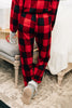 pjs, pajama set, matching set, round neckline, buffalo plaid print, long sleeves, pants, top, elastic waist