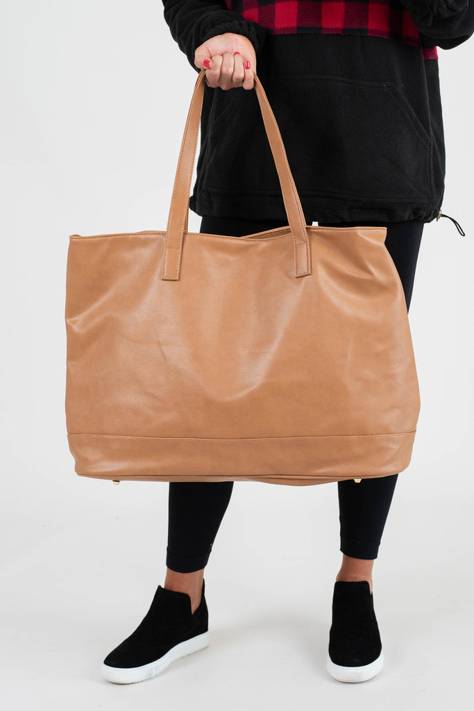 cognac brown oversized tote, tote, cognac, pockets