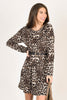leopard print dress, leopard, dress, fall, winter, brown, long sleeves, wide round neckline, round neckline