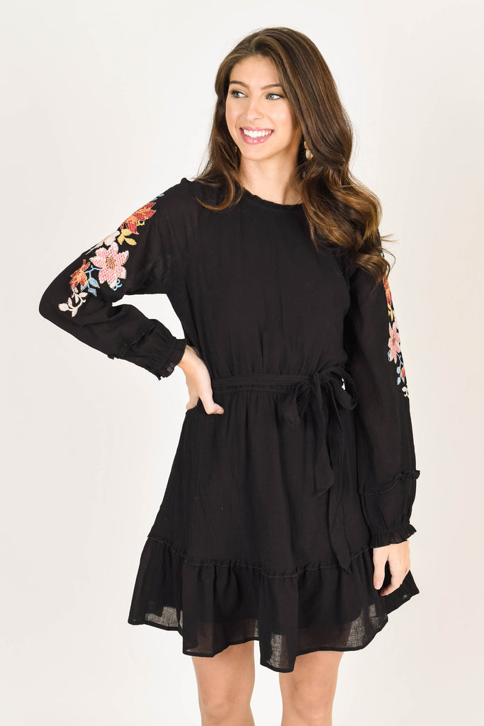 fall, dress, fall dress, flattering, floral embroidery, round neckline, long sleeves, tiered skirt, no stretch, black, black dress