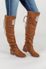 over the knee boots, boots, brown, comfy, chic, lace up
