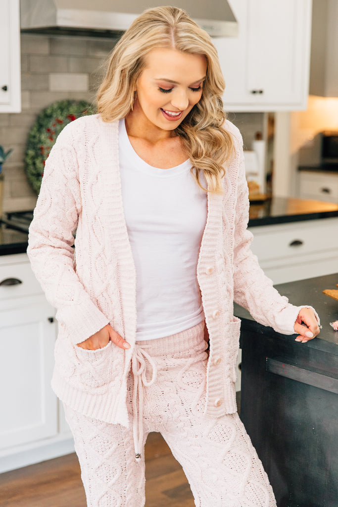cardigan, pockets, cable knit fabric, long sleeves, pajama set, comfy, pink