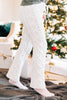 pajama pants, cable knit fabric, tied waist, white, warm, tie waist pants