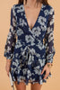 dress, floral print, tied waist, ruffled hem, feminine, long sleeves, v-neck, blue floral, navy floral,